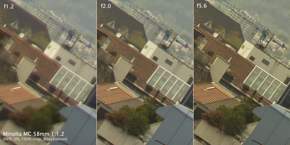 Minolta 58mm f12 MC-II Blendenvergleich